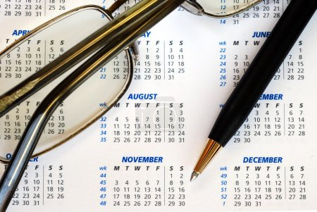 Check out the dates in a business calendar concepts of planning ahead