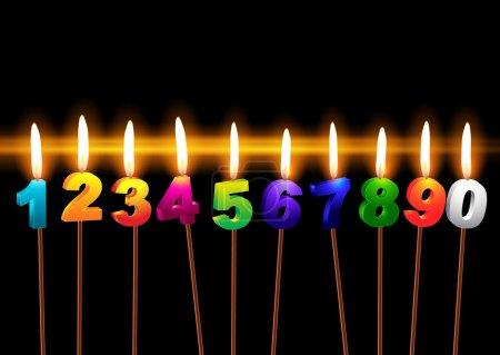 """Illustration pour Brûler des bougies avec des chiffres """"1, 2, 3, 4, 5, 6, 7, 8, 9, 0 """" - image libre de droit"""