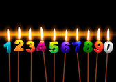Burning candles with numbers