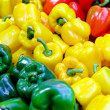 Colouful sweet bell peppers at farmers market...