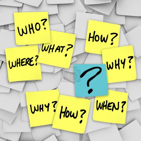 Questions and Question Mark - Sticky Note Confusion