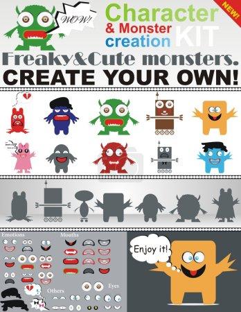 Illustration pour Kit de création de personnages et de monstres. Un pack unique de monstres bizarres que vous pouvez utiliser si vous le souhaitez ! - image libre de droit