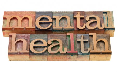 Photo for Mental health - isolated text in vintage wood letterpress printing blocks - Royalty Free Image