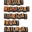 7 days of week from Monday to Sunday in vintage wo...