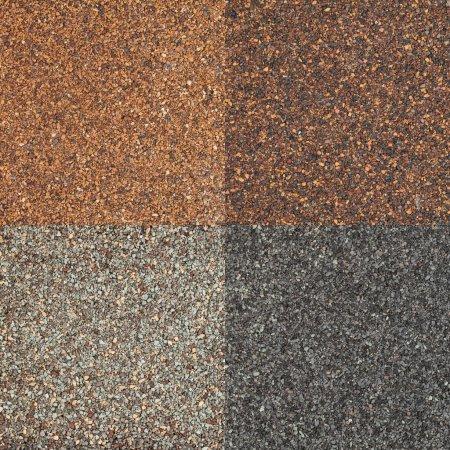 Photo pour Quatre textures de bardeaux de toiture asphalte impact élevé dans différents tons de couleur marron et grise - image libre de droit