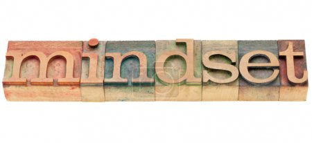 Photo for Mindset - isolated word in vintage wood letterpress printing blocks - Royalty Free Image