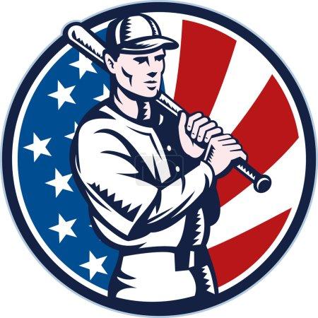 Baseball player holding bat american flag