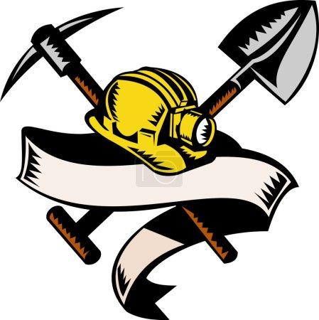 Photo pour Illustration d'un chapeau, d'une pelle ou d'une pelle de mineurs de charbon et d'une pioche avec défilement isolé sur blanc réalisé dans un style rétro gravé sur bois - image libre de droit