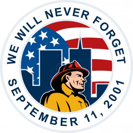 9-11 fireman firefighter american flag twin tower