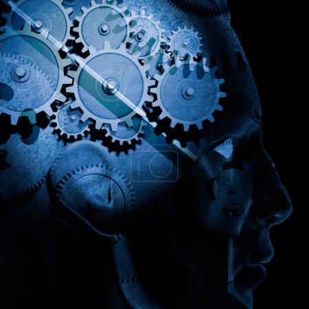 Photo pour Image des engrenages à l'intérieur de la tête d'un homme . - image libre de droit