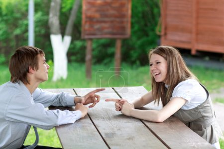 Discussion outdoors