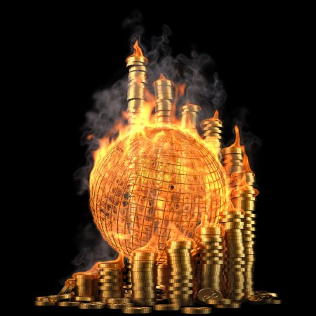 Photo for Globe with twisted diagram of golden coins in the fire. isolated on black. - Royalty Free Image