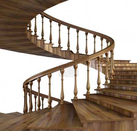 Photo for Spiral wooden staircase. - Royalty Free Image