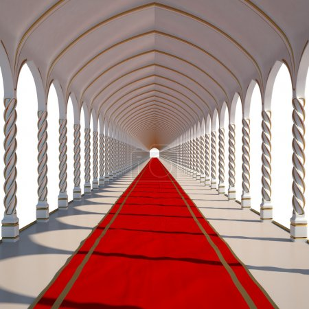 Photo pour Longtemps antique salle avec tapis rouge. isolé sur blanc. - image libre de droit