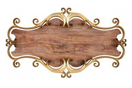 Photo pour Panneau en bois avec de l'or faux cadre. isolé sur blanc. - image libre de droit