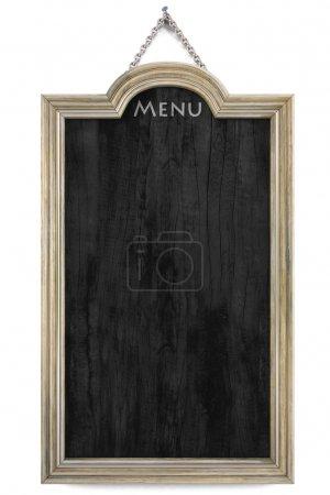 Photo pour Panneau de menu en bois avec cadre doré. isolé sur blanc . - image libre de droit