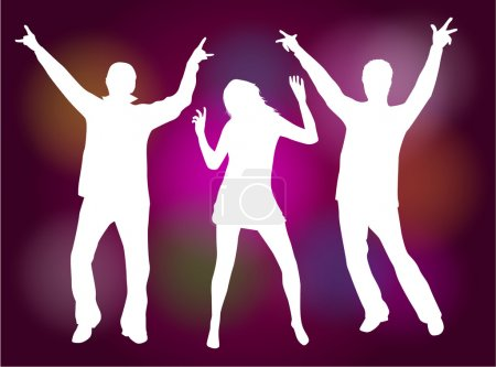 Partying, dancing silhouettes-colored background