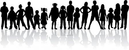 Illustration pour Grand groupe de silhouettes vectorielles - image libre de droit
