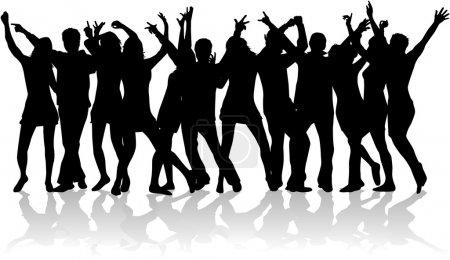 Illustration pour Grand groupe de jeunes danseurs - image libre de droit
