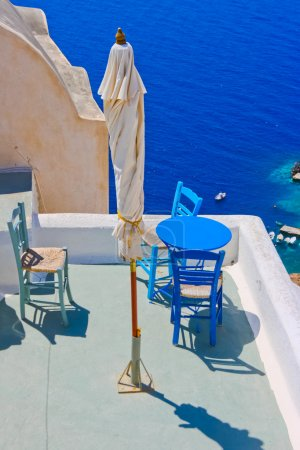 Magic terrace in Santorini with Caldera view