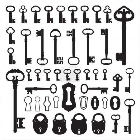 Illustration pour Certains anciens éléments matériels : clés, trous de serrure et cadenas . - image libre de droit