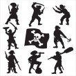 Eight pirates silhouettes with a flag