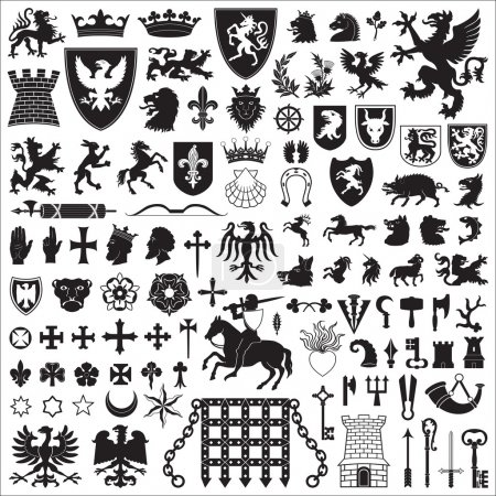 Illustration for Collection of old coats of arms, heraldic symbols and elements. - Royalty Free Image