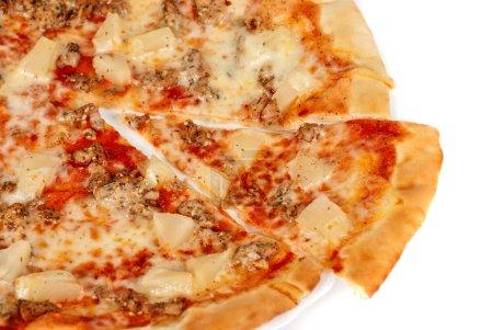 Hawaiian pizza with roasted chicken, pineapple, ga...