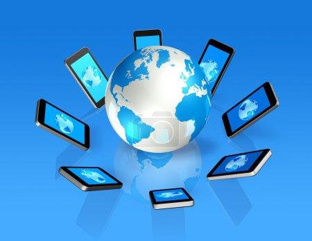 3D mobile phones around a world globe
