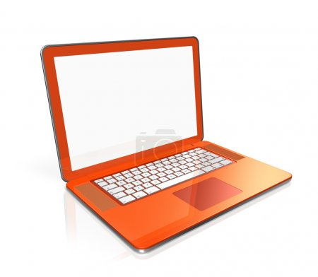Photo for 3D black laptop computer isolated on white with 2 clipping path : one for global scene and one for the screen - Royalty Free Image