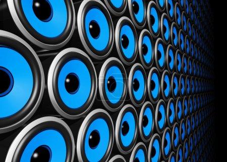 Blue speakers wall