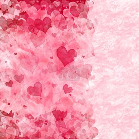 Photo for Elegant background with transparent pink and red hearts, and copy space for your text - Royalty Free Image