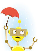 Yellow Robot holds small umbrella to protect against rain