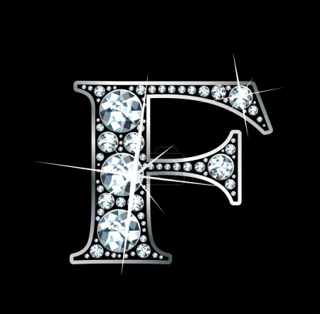 """Illustration pour Un """"F"""" incroyablement beau serti de diamants et d'argent . - image libre de droit"""