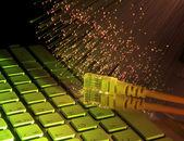 Optická vlákna pozadí s síťový kabel na klávesnici pro laptop