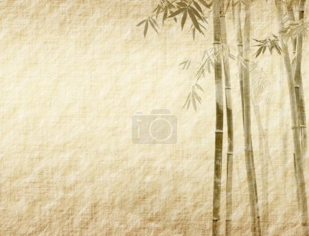 Photo for Bamboo on old grunge antique paper texture - Royalty Free Image