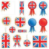 United kingdom decorative rosettes and flags isolated on white