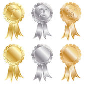 Gold silver and bronze rosettes isolated on white