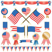 Usa flags and rosettes