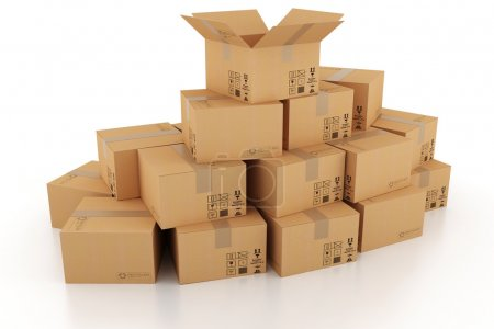 Photo for 3d cardboard box - Royalty Free Image