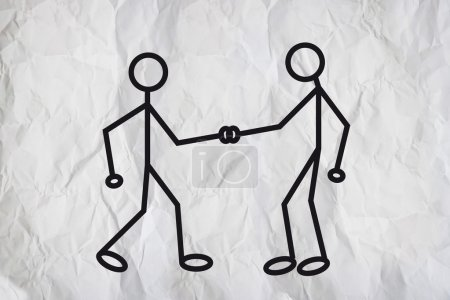 Photo for Illustration of two humanoid figures shaking hands and greeting each other over a white paper texture background. - Royalty Free Image