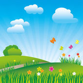 Vector illustration beautiful springtime landscape with butterflies and flowers