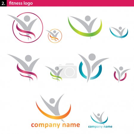 Photo for Set of fitness and social logo - Royalty Free Image