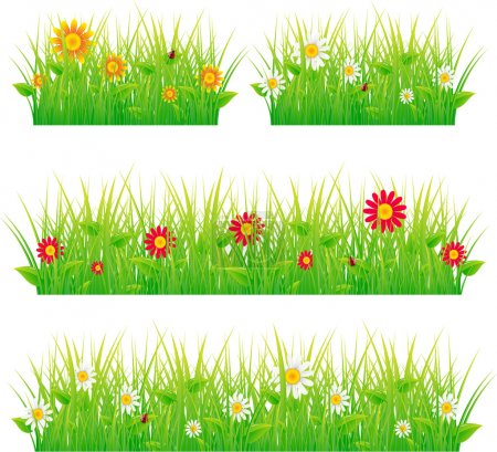 Illustration for Selection of vector grassy verges and foregrounds. - Royalty Free Image