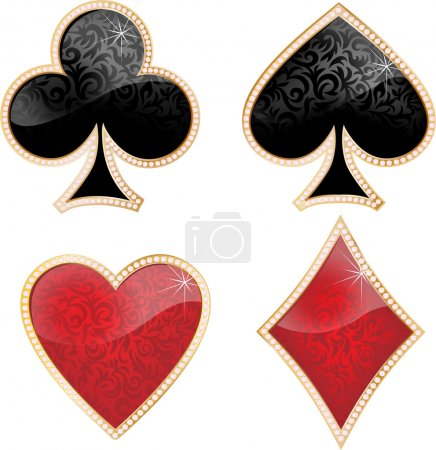 Illustration for Playing card decorated with brilliants and texture. - Royalty Free Image