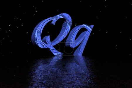 Photo pour Lettre q bleu - image libre de droit