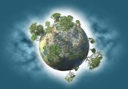 Photo pour Planète verte avec de l'eau et des arbres - image libre de droit