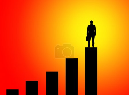 Photo for Silhouette of businessman standing on graph peak - Royalty Free Image