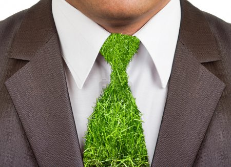 Businessman formal suit with grass tie