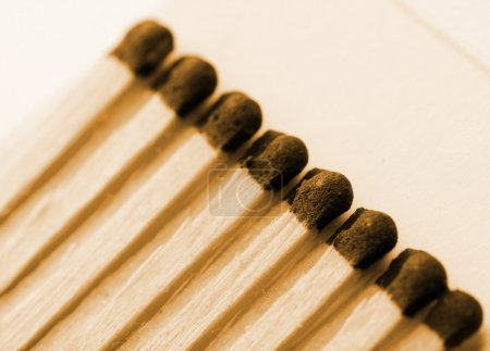 Wooden matches in matchbook